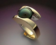 Tahitian Black Pearl and Diamond ring in by Metamorphosisjewelry