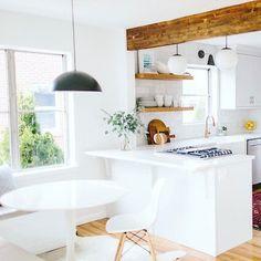 Kitchen Living, Diy Kitchen, Kitchen Decor, Kitchen Ideas, Half Wall Kitchen, 1960s Kitchen, Kitchen Post, Rental Kitchen, Kitchen Tables
