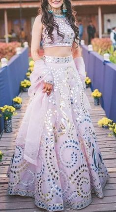 Lilac Mirror Work Lehenga with Crop Top - Designer Dresses Couture Indian Wedding Gowns, Indian Bridal Lehenga, Indian Gowns Dresses, Indian Bridal Outfits, Indian Fashion Dresses, Dress Indian Style, Indian Designer Outfits, Red Lehenga, Anarkali