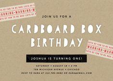 Cardboard Box Children's Birthday Party Invitation by Lehan Veenker