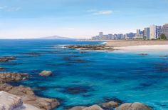 Painting of Sea Point - Triptych right hand painting Andrew Cooper, Point Paint, South African Artists, Sea Art, Seascape Paintings, Natural Forms, Triptych, Around The Worlds, Hand Painted
