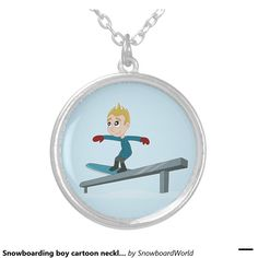 Snowboarding boy cartoon necklace