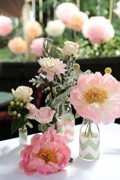 Peonies, craspedia and chevron bottles #weddings #flowers #events