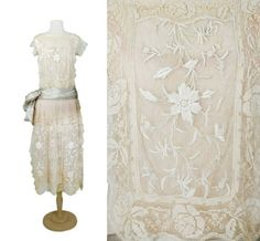 Creme Lace Summer Tea Dress.   Possibly Boue Soeurs, mid 1920s. http://www.doylenewyork.com