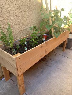 Vegetable Planter Boxes, Planter Box Plans, Raised Planter Boxes, Diy Planter Box, Outdoor Planter Boxes, Planter Beds, Raised Herb Garden, Herb Garden Planter, Herb Planters