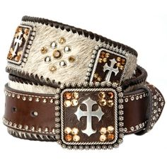 Brown Hair-On belt w/ cross conchos, crystals, and studs :)