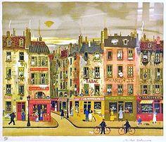 Paris Street Michel Delacroix Photomontage, Paris Illustration, Building Sketch, Paris Art, Collages, Naive Art, Objet D'art, French Art, Beautiful Paintings