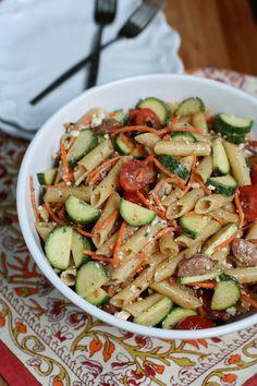 Garden Pasta Salad with Chicken Sausage from @aggieskitchen