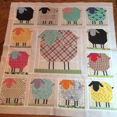 The Sheepies are all put together into a wallhanging! #farmgirlfridays #farmgirlvintage #woollysheepblock