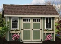 Google Image Result for http://www.yoderbarns.com/barns/img/uploads/thumb.large.gardenshed1_10x12olive.jpg Shed Trim Ideas, Shed Color Ideas, Plastic Storage Sheds, Storage Shed Plans, Barn Storage, Garden Tool Storage, Outdoor Storage, Diy Storage, Storage Ideas