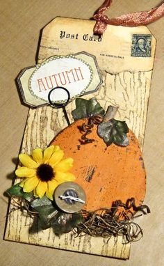 Autumn tag scrapbook embellishment