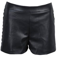Nasty Gal Cross It Off Vegan Leather Short ($36) ❤ liked on Polyvore featuring shorts, zipper shorts, short shorts, leather look shorts, faux-leather shorts and vegan leather shorts