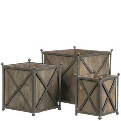 Sullivans Decorative Wooden Framed Box Planters Rustic Wood in Modern Metal Containers, 7 to 11 Inches Tall Each, Brown, 3 Rustic Planters, Wood Planter Box, Wooden Planters, Planter Ideas, Wooden Cooler, Metal Containers, Cool Woodworking Projects, Woodworking Plans, Porch Decorating