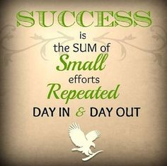 Success is the sum of small efforts repeated day in & day out!