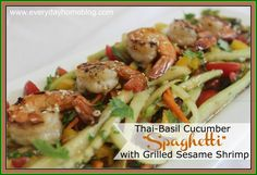 "Thai-Basil Cucumber ""Spaghetti"" with Grilled Sesame Shrimp by The ..."
