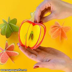 We prepared these paper fruit craft templates. Perfect paper craft for kids both for decoration or for making a set of pretend play fruit with your kids. The post Paper Fruit Craft for Kids appeared first on Pinova. Creative Crafts, Easy Crafts, Diy And Crafts, Arts And Crafts, Recycled Crafts, Creative Ideas, Paper Crafts For Kids, Preschool Crafts, 3d Paper Crafts