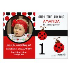 Ladybug 1st Birthday Party Invitation