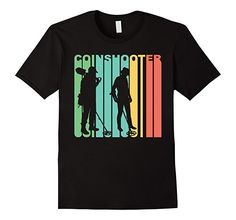 Men's Retro 1970's Coinshooter Silhouette Metal Detecting T-Shirt Large Black