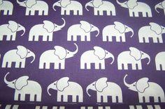 Reststücke COUPON  Swafing Baumwollstoff  Elefanten lila weiß