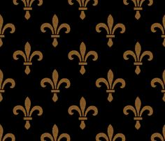 14th Century Fleur De Lys ~ Gold and Black  fabric by peacoquettedesigns on Spoonflower - custom fabric