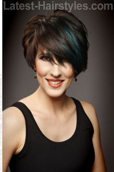 Short Asymmetric Hair Cut with Layers and Peek A Boo Color