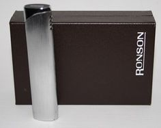 Genuine Ronson Lighter Varatronic Piezo Electric In Gift Box Silver Designe
