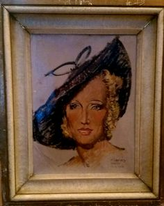 1937 oil on board portrait done in Paris.  Illegible signature.