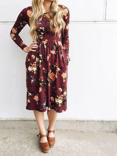 Burgundy Floral Long Sleeve Midi Dress