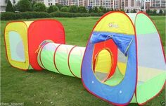 Kids Toddler 3 pc Play Tent children large tunnel tube Hideaway pop out kid gift #unbranded