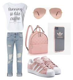 """""""street style💕"""" by aggeliki27796 on Polyvore featuring rag & bone/JEAN, Dorothy Perkins, adidas Originals, Ray-Ban and adidas"""