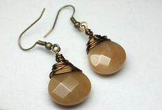 Antique Gold Jade Briolette Earrings Jade by CaveGemstones on Etsy #rusticearrings