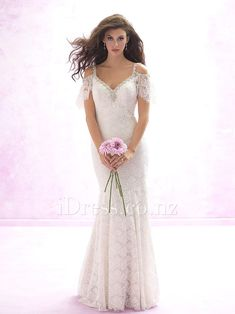 Beaded Spaghetti Straps Peek-a-boo Ivory Sexy Long Sheath Lace Wedding Dress Open Back