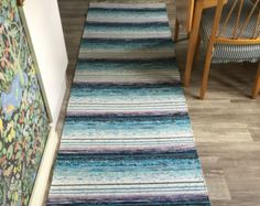 Blue Striped Cotton Tricot Floor Mat / Rug - Edit Listing - Etsy