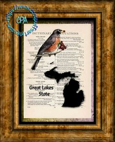 MICHIGAN State Black Silhouette with State Bird, Great Lakes State Art - Vintage Dictionary Page Art Print Upcycled Page Print by CocoPuffsArt on Etsy