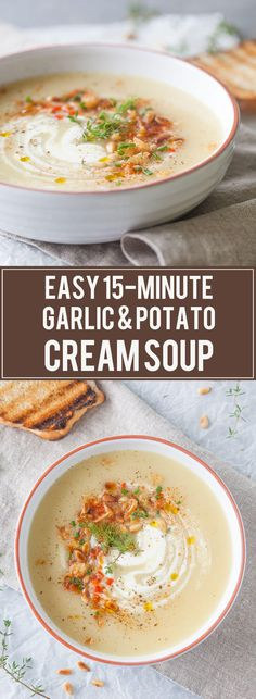 Cold days equal warm bowls of soup, such as this delicious & easy Garlic and Potato Cream Soup that you can make it just 15 minutes | www.vibrantplate.com #soup #garlicsoup #recipe