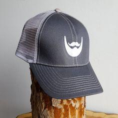 Image of Beard Man Mesh Trucker Mesh Hat - Grey Snapback Cap with Embroidered Beard Logo