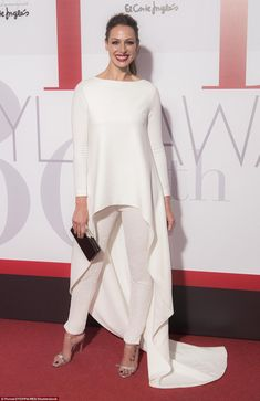Alright in white: Spanish actress Eva Gonzalez put on a stylish display in sequinned trousers and a flowing, floor-length top Elegant Dresses, Beautiful Dresses, Modest Fashion, Fashion Dresses, Mode Chic, Looks Chic, Mode Hijab, White Fashion, Chic Outfits