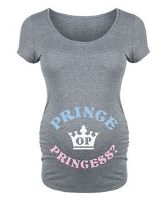 Belly Love Athletic Heather Prince or Princess Maternity Scoop Neck Tee | zulily