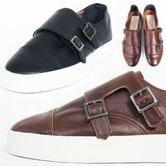 Double Monk Strap Synthetic Leather Sneakers 158