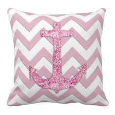 Glitter nautical anchor, chic pink chevron pattern pillow #cute #nautical #pinkchevronthrowpillow