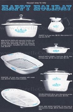 1962 Advertisement - Blue Cornflower Corning Ware - Corelle Pyrex Patterns Dates Information