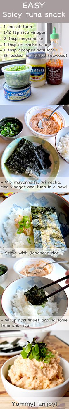 Your kids will also love this! Easy and quick spicy tuna snack over Japanese rice recipe http://pickledplum.com