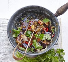 Skip the meat and try out a saucy vegetarian stir-fry with soy and vinegar sauce, fresh coriander and spicy chilli Hot & sour aubergines
