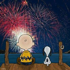 Charlie Brown and Snoopy watching fireworks!