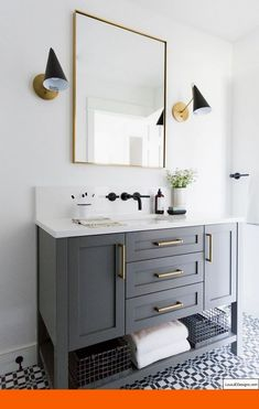 Small guest bathroom with dark custom vanity, gray vanity, modern traditional ba. Small guest bathroom with dark custom vanity, gray vanity, modern traditional bathroom Ideas Baños, Decor Ideas, Decorating Ideas, Gray Vanity, Black Vanity Bathroom, Small Vanity, Double Vanity, Black And Gold Bathroom, Gray And White Bathroom