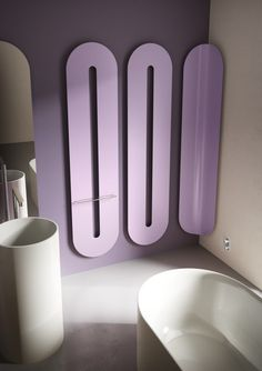 Steel decorative #radiator HITI by ANTRAX IT | #design Simone Micheli #bathroom #pink