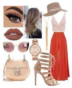 """""""begie"""" by lanaism ❤ liked on Polyvore featuring Warehouse, Charlotte Russe, Chloé, Lime Crime, Topshop, Michael Kors and Quay"""