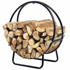 Shop for Costway 2 Feet Tubular Steel Log Hoop Firewood Storage Rack Holder Round Display. Get free delivery On EVERYTHING* Overstock - Your Online Home Improvement Shop! Get in rewards with Club O! Firewood Holder Indoor, Firewood Stand, Firewood Logs, Firewood Rack, Firewood Storage, Wood Storage Rack, Shed Storage, Indoor Outdoor Fireplaces, Log Home Interiors