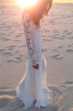 Long lace sleeve wedding dress with stunning low back and silk chiffon train boho vintage bride