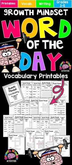 Growth Mindset Word of the Day Printables for Grades 3-5: Perfect for a Month-Long Vocabulary Study!